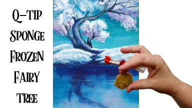 Easy painting of a Fairy Snow Tree with Cotton Swabs