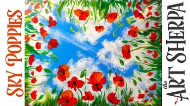Easy How to paint with Acrylic on Canvas Sky View Poppies Step by step