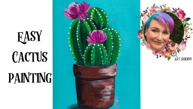 Easy Painting in acrylic Cute Cactus Live Streaming