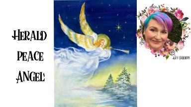 Easy Painting in acrylic Angel Trumpeting horn at night Live stream