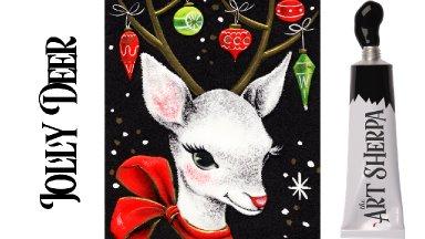 Easy Painting in acrylic Vintage Christmas Card Deer Live stream