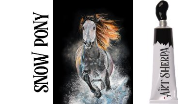 Easy Painting in acrylic Horse Running in the snow Live Streaming