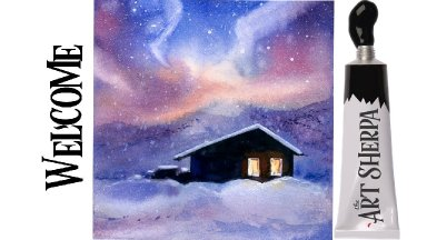 Easy Painting in acrylic Aurora Borealis winter Cabin in snow