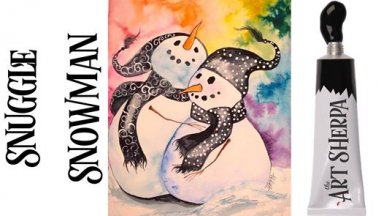 Snuggle Snowman watercolor class and Artbin Giveway
