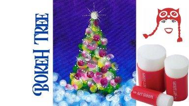 EASY Christmas Tree Bokeh  No Brushes Acrylic Live stream