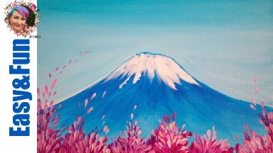 Simple Painting in acrylic Mt Fuji Cherry Blossom 🗻🌸 Live streaming