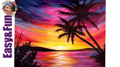 Easy Painting in acrylic Paradise Sunset Step by step 🌄 Live stream