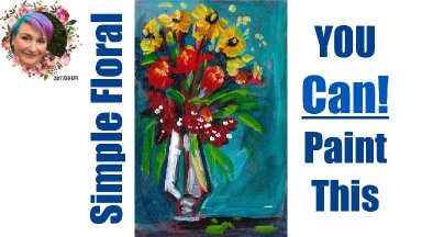 Easy Painting in acrylic Flowers in Tall Vase step by step 🎨🌸🖌