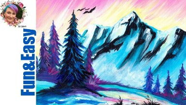 Easy Painting in acrylic Snowy Mountain  Step by step 🗻 Live stream