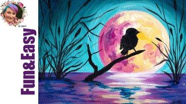 Moonlight Bird on a Branch EASY acrylic tutorial 🐦🌛Live stream