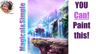 Step by step Fantasy Waterfall tutorial  Painting in acrylic Live Streaming