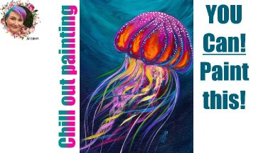 Jellyfish Easy Mellow Step by step Painting in acrylic🎨🐙  Live streaming