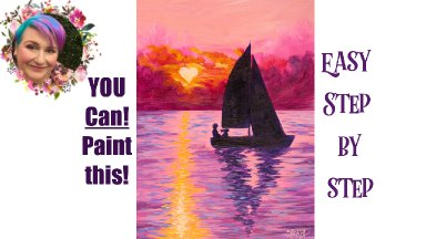 Sunset Love Boat Easy Painting in acrylic step by step Live stream
