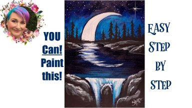Moon and Waterfall at night Easy Painting in acrylic Live Streaming
