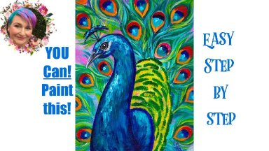 Peacock Easy Painting in acrylic step by step Live streaming