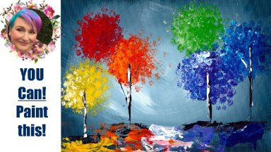 Bubble Wrap Trees Easy Painting in acrylic Live Streaming