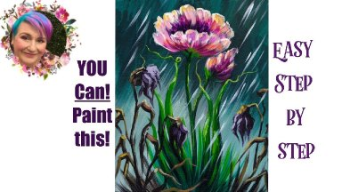 Flower in Rain Easy Painting in acrylic Live streaming