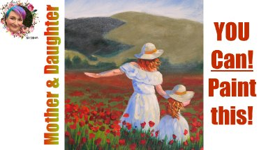Mother and Daughter in Poppies Painting in acrylic step by step