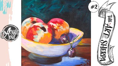 Easy Peach bowl still life loose step by step Acrylic April day #2