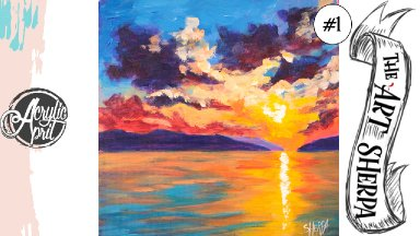 Easy Sunset on Ocean loose step by step Acrylic April day #1