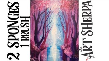 Pink Trees with reflections  Step by Step Acrylic Painting for Beginners