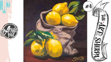 Easy lemons still life loose step by step Acrylic April day #4