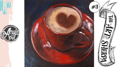 Easy Cup of Coffee loose step by step Acrylic April day #3