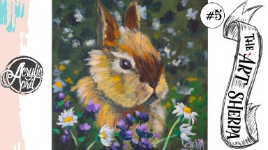 Easy  Bunny in clover  loose step by step Acrylic April day #5