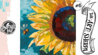 Easy sunflower loose step by step Acrylic April day #6