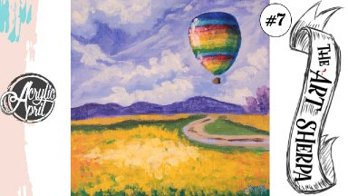 Easy Hot air balloon over wildflowers loose step by step Acrylic April day #7