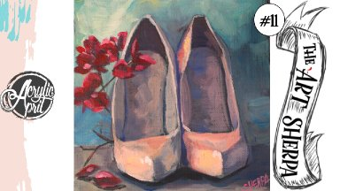Pumps and flowers loose step by step Acrylic April day #11