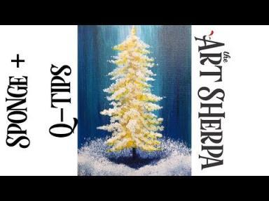 cotton swab painting technique golden pine tree easy acrylic