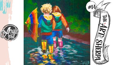 Colorful kids in the rain easy loose step by step Acrylic April day #14