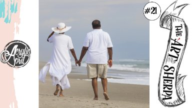 Beach Couple in love Easy  loose step by step Acrylic April day #21
