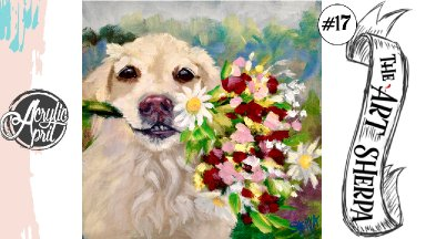 Easy Dog with bouquet  loose step by step Acrylic April day #17