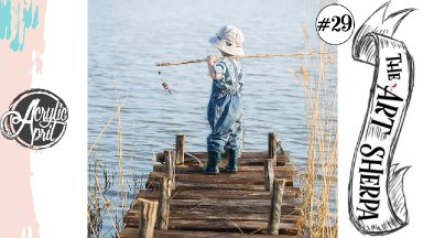Little Boy Fishing on pier loose step by step Acrylic April day #29