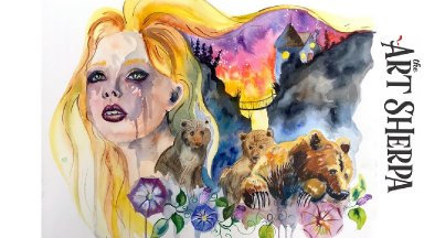 Watercolor and Acrylic on paper Goldilocks  Multimedia About face #23