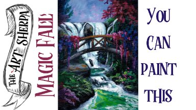 Waterfall Garden easy acrylic painting tutorial for beginners step by step