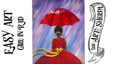 Easy Girl in the Rain with Red dress  acrylic painting tutorial for beginners