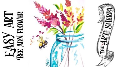 Easy Flower Jar  acrylic painting tutorial for beginners step by step