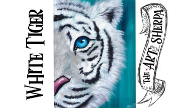 White tiger easy acrylic painting tutorial for beginners step by step