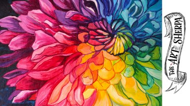 Rainbow Flower acrylic painting tutorial  step by step Live Stream