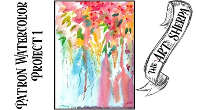 Patron watercolor #1 Abstract floral 1 hoot