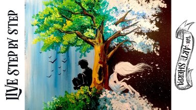 LIVE STREAM  Day and Night Tree Easy acrylic Painting Step by step  For Beginners