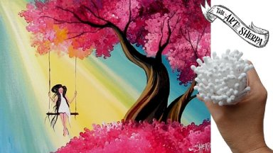 EASY Q-tip painting technique Cherry Tree How to draw girl on a swing