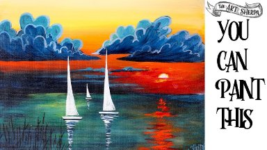 Easy painting tutorial for beginners Abstract  Sailboats Sunset ☀️🚢