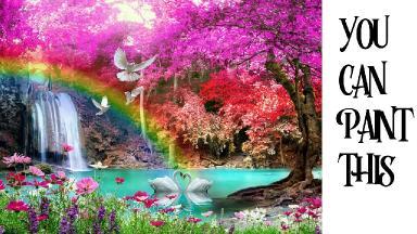 Step by step Rainbow Magical Fantasy Waterfall Acrylic tutorial