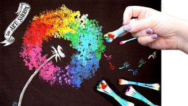 Rainbow Dandelion Q Tip Acrylic Painting for Beginners tutorial 🌈🎨💜