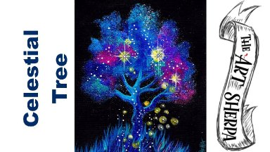LIVE: 🔴 Galaxy Tree Easy Acrylic painting techniques step by step