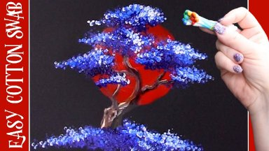 Rising Sun Bonsai Tree Q Tip Acrylic Painting for Beginners tutorial 🌳🔴